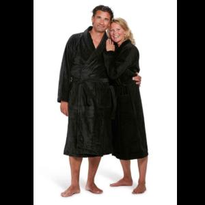 velours badjas met sjaalkraag unisex model